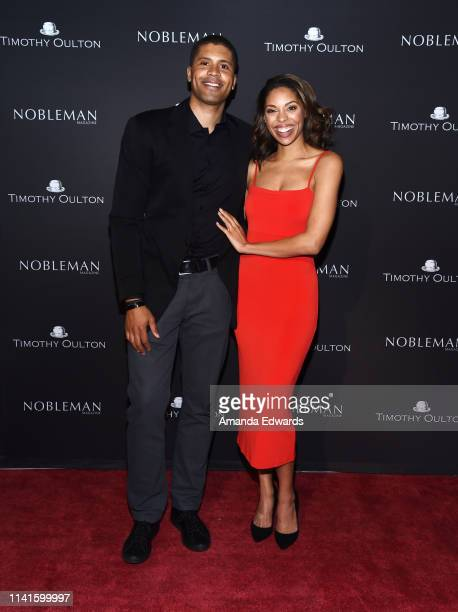 Aaron Burgess and Ciera Payton attend the launch celebration of Nobleman Magazine's Issue at Timothy Oulton Los Angeles Showroom on April 09 2019 in...