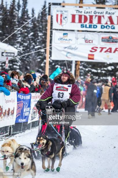 Aaron Burmeister of Nome Alaska at the start of the 2015 Iditarod Sled Dog Race in Fairbanks Alaska 09 March 2015 Photo Scott Chesney/dpa | usage...