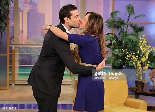 Aaron Butler and Satcha Pretto are seen on the set of Univision's 'Despierta America' shortly after announcing that Satcha is pregnant at Univision...