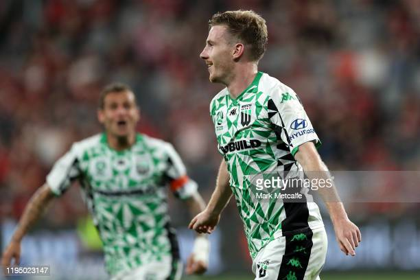 Aaron Calver of United celebrates scoring a goal during the round 11 WLeague match between the Western Sydney Wanderers and Western United at...
