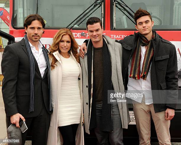 Aaron Cameron actress Tracey Bregman Austin Recht and Landon Recht attend the Ride Of Fame New York ceremony at Pier 78 on April 7 2014 in New York...