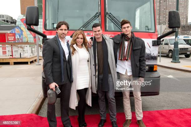 Aaron Cameron actress Tracey Bregman Austin Recht and Landon Recht attend the Ride of Fame induction ceremony for Tracey Bregman at Pier 78 on April...