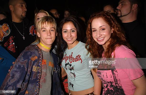 Aaron Carter and Dream during The 28th Annual American Music Awards Columbia Records After Party at Las Palmas in Hollywood California United States