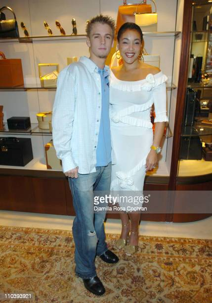 Aaron Carter and Jaci Wilson Reid during Jaci Wilson Reid and Morris Reid Host a Shopping Experience at Asprey to Benefit VH1 Save The Music Fund at...