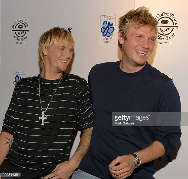 Aaron Carter and Nick Carter during Howie Dorough's Birthday Party at LAX in Hollywood California United States