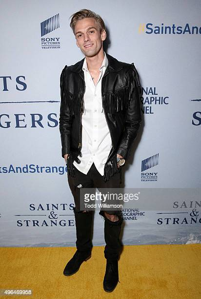 Aaron Carter attends National Geographic Channel's 'Saints Strangers' World Premiere Event at Saban Theatre on November 9 2015 in Beverly Hills...