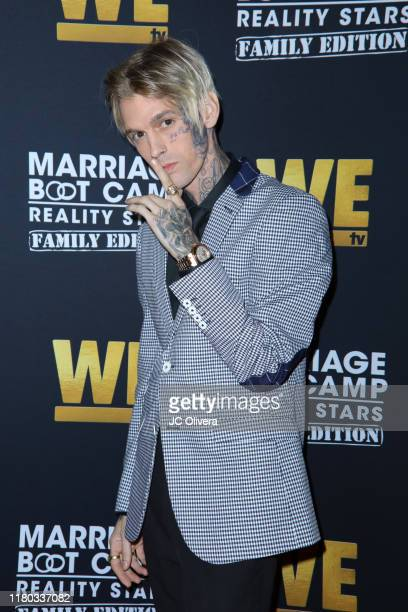 Aaron Carter attends WE tv celebrates the premiere of 'Marriage Boot Camp' at SkyBar at the Mondrian Los Angeles on October 10 2019 in West Hollywood...