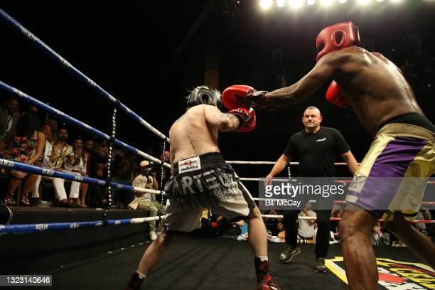 Aaron Carter, Chuck Liddell and Lamar Odom during the celebrity boxing match at Showboat Atlantic City on June 11, 2021 in Atlantic City, New Jersey.