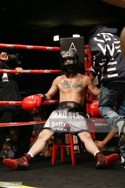 Aaron Carter during his celebrity boxing match at Showboat Atlantic City on June 11, 2021 in Atlantic City, New Jersey.