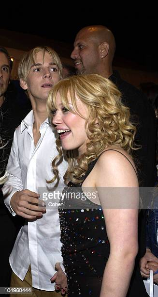 Aaron Carter Hilary Duff during The Lizzie McGuire MoviePremiere After Party at The El Capitan Theater in Hollywood CA United States