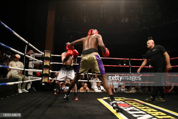 Aaron Carter, Lamar Odom and Chuck Liddell during the celebrity boxing match at Showboat Atlantic City on June 11, 2021 in Atlantic City, New Jersey.