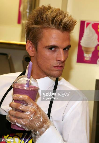 Aaron Carter launches his Celebrity Signature Milkshake at Millions of Milkshakes on September 23 2009 in Los Angeles California