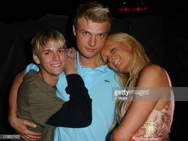 Aaron Carter Nick Carter and Paris Hilton during The Simple Life 2 Welcome Home Party Inside at The Spider Club in Hollywood California United States