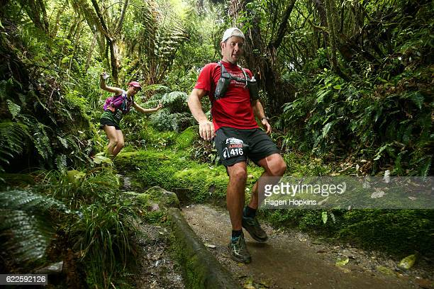 Aaron Carter of Taupo New Zealand competes in the 50km run during the Tarawera Trail Run on November 12 2016 in Rotorua New Zealand