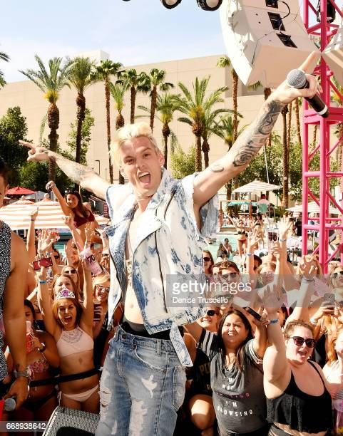 Aaron Carter performs at the Go pool at Flamingo Las Vegas on April 14 2017 in Las Vegas Nevada
