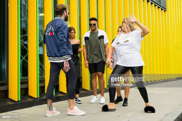 Aaron Chalmers Abbie Holborn Nathan Henry Marnie Simpson and Chloe Ferry attend the Geordie Shore series 15 premiere photocall at MTV London on...