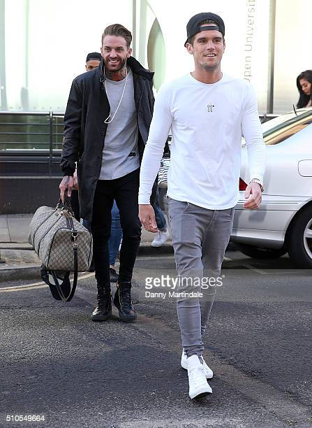 Aaron Chalmers and Gary Beadle attends a photocall ahead of Season 12 of Geordie Shore at MTV London on February 16 2016 in London England