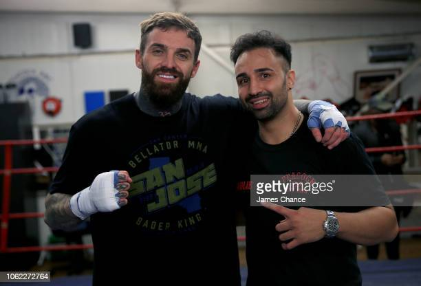 Aaron Chalmers and Paulie Malignaggi pose for a photo during the Aaron Chalmers and Paulie Malignaggi Training Session at the Peacock Gym on November...