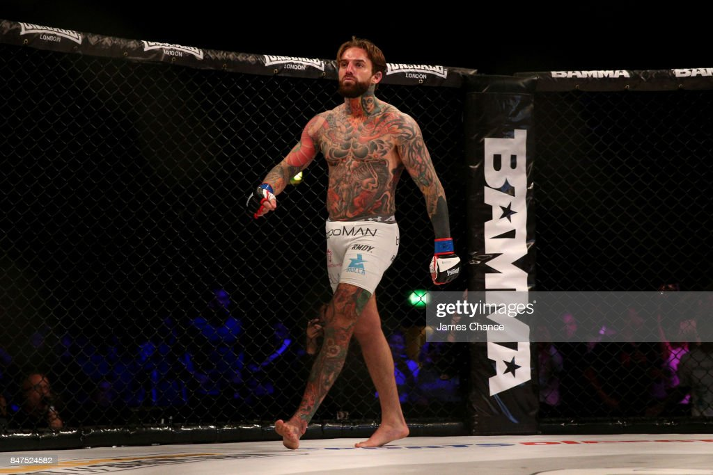 Aaron Chalmers of England celebrates victory after his Welterweight fight against Alex Thompson of England during BAMMA 31 at SSE Arena Wembley on September 15, 2017 in London, England.