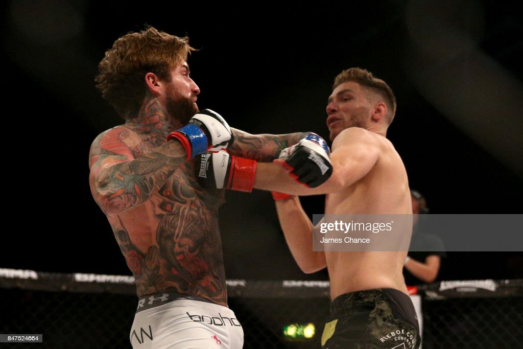 Aaron Chalmers of England in action against Alex Thompson of England in their Welterweight fight during BAMMA 31 at SSE Arena Wembley on September 15, 2017 in London, England.