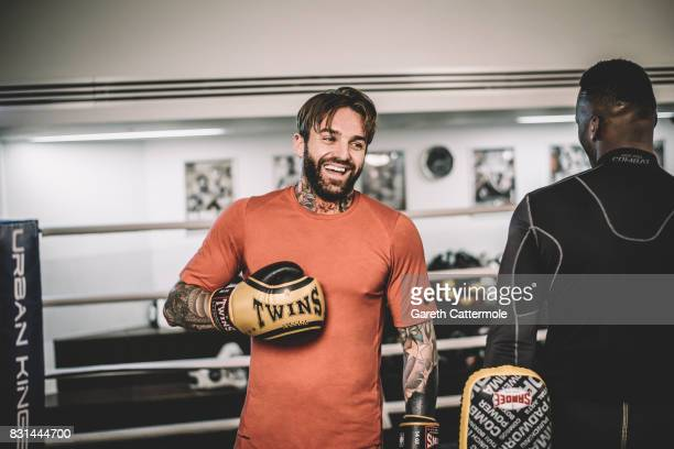 Aaron Chalmers of Geordie Shore is photographed during a MMA prefight workout at Urban Kings Gym on August 14 2017 in London England The main fight...
