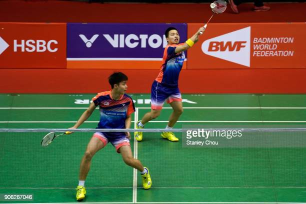 Aaron Chia and Soh Wooi Yik of Malaysia in action during the Men's doubles round one match of the Perodua Malaysia Masters 2018 at the Axiata Stadium...