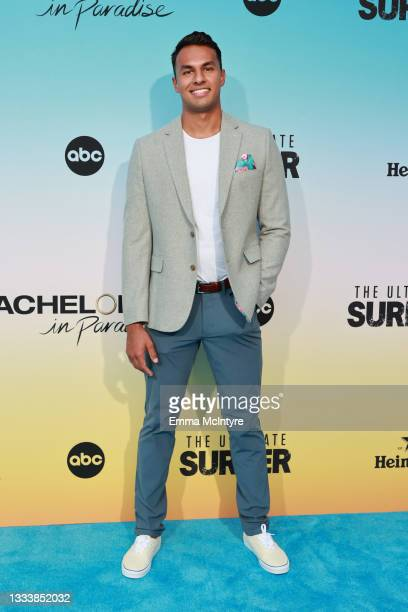 """Aaron Clancy attends ABC's """"Bachelor In Paradise"""" And """"The Ultimate Surfer"""" Premiere at Fairmont Miramar - Hotel & Bungalows on August 12, 2021 in..."""