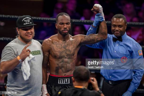 Aaron Coley gets his hand raised after a split decision win of an eight round middleweight fight at The Theater at MGM National Harbor on March 24...