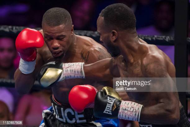 Aaron Coley punches Brandon Quarles during the fourth round of their middleweight fight at The Theater at MGM National Harbor on March 24 2019 in...
