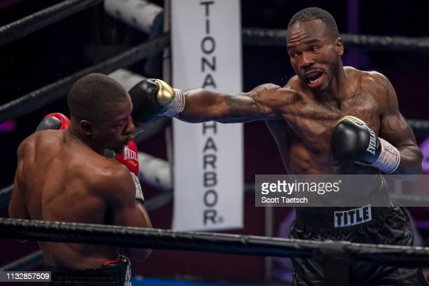 Aaron Coley punches Brandon Quarles during the sixth round of their middleweight fight at The Theater at MGM National Harbor on March 24 2019 in Oxon...