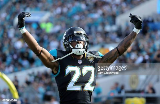 Aaron Colvin of the Jacksonville Jaguars celebrates a play in the second half of their game against the Los Angeles Chargers at EverBank Field on...