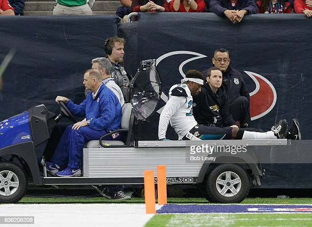 Aaron Colvin of the Jacksonville Jaguars is carted off the field against the Houston Texans at NRG Stadium on December 18 2016 in Houston Texas