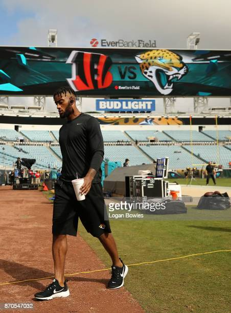 Aaron Colvin of the Jacksonville Jaguars leaves the field prior to the start of their game against the Cincinnati Bengals at EverBank Field on...