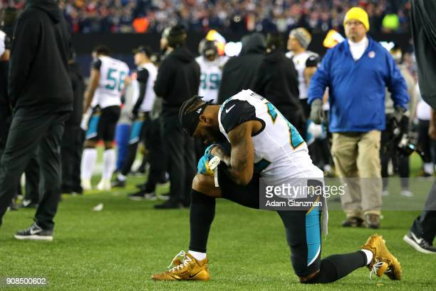 Aaron Colvin of the Jacksonville Jaguars reacts after being defeated by the New England Patriots during the AFC Championship Game at Gillette Stadium...