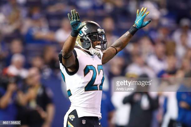 Aaron Colvin of the Jacksonville Jaguars reacts against the Indianapolis Colts during the third quarter at Lucas Oil Stadium on October 22 2017 in...