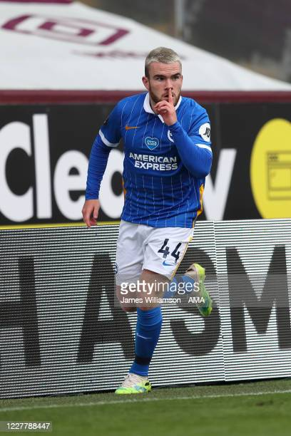 Aaron Connolly of Brighton and Hove Albion celebrates after scoring a goal to make it 1-2 during the Premier League match between Burnley FC and...