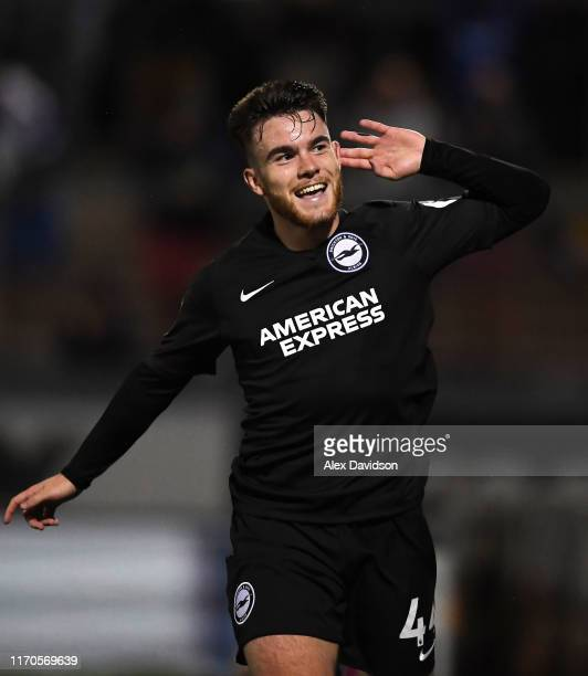 Aaron Connolly of Brighton and Hove Albion celebrates after scoring his team's first goal during the Carabao Cup Second Round match between Bristol...