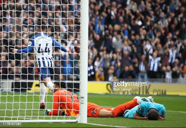Aaron Connolly of Brighton and Hove Albion celebrates after scoring his team's second goal during the Premier League match between Brighton Hove...