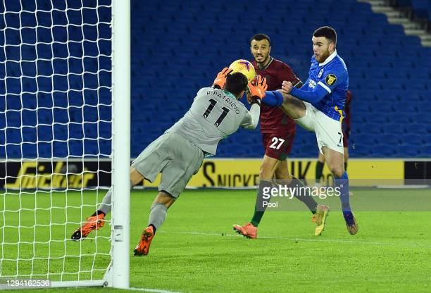 Aaron Connolly of Brighton & Hove Albion scores their team's first goal during the Premier League match between Brighton & Hove Albion and...