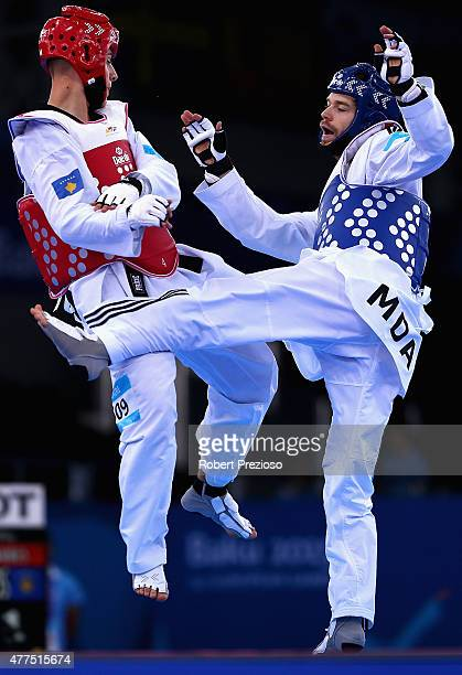 Aaron Cook of Moldova and Arbes Jahiri of Republic of Kosovo compete in the Taekwondo Preliminary Round Men 80Kg during day six of the Baku 2015...