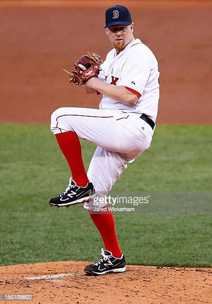 Aaron Cook of the Boston Red Sox pitches against the Detroit Tigers during the game on August 1 2012 at Fenway Park in Boston Massachusetts