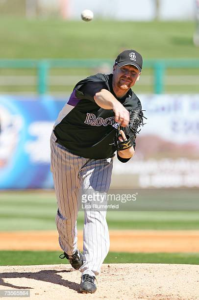 Aaron Cook of the Colorado Rockies pitches during the game against the Chicago White Sox at Tucson Electric Park on February 28 2007 in Tucson Arizona