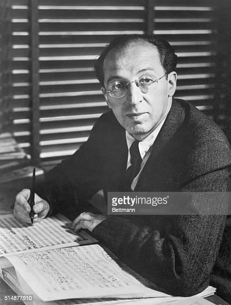 Aaron Copeland in his studio composing 1930's photograph