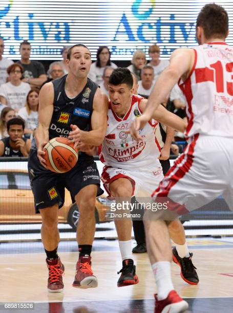 Aaron Craft of Dolomiti Energia Trentino handles the ball against during LegaBasket Serie A Playoffs match 3 beetwen Dolomiti Energia Trentino and...