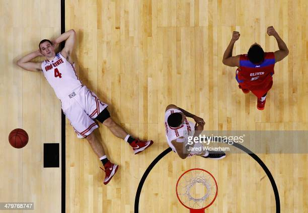 Aaron Craft of the Ohio State Buckeyes reacts after losing to the Dayton Flyers 6059 in the second round of the 2014 NCAA Men's Basketball Tournament...