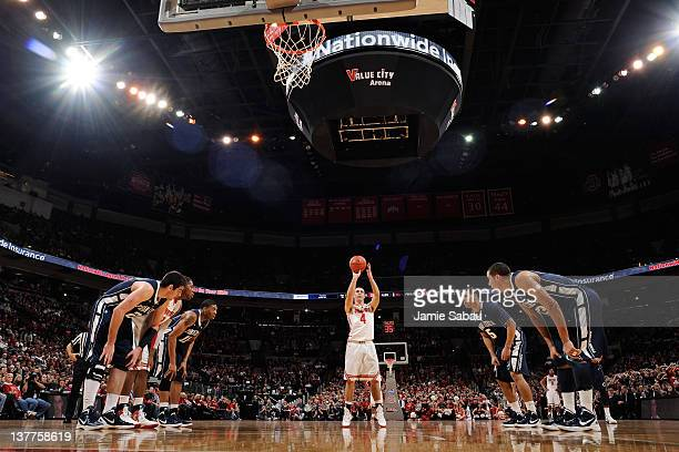 Aaron Craft of the Ohio State Buckeyes shoots a free throw against the Penn State Nittany Lions on January 25, 2012 at Value City Arena in Columbus,...