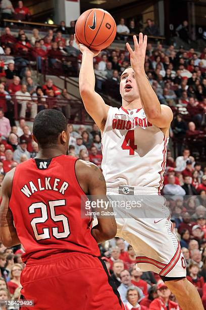 Aaron Craft of the Ohio State Buckeyes shoots the ball against the Nebraska Cornhuskers on January 3 2012 at Value City Arena in Columbus Ohio