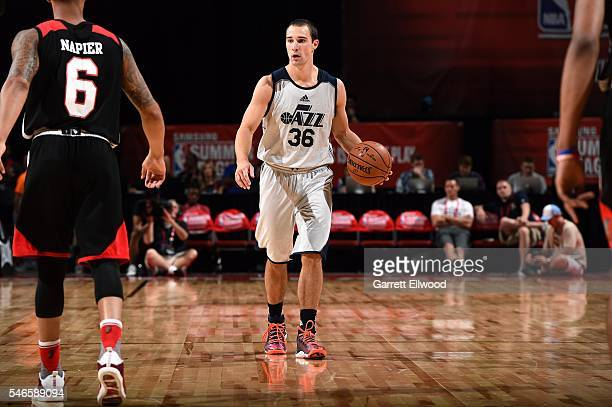 Aaron Craft of Utah Jazz handles the ball during the game against the Portland Trail Blazers during the 2016 Las Vegas Summer League on July 12 2016...