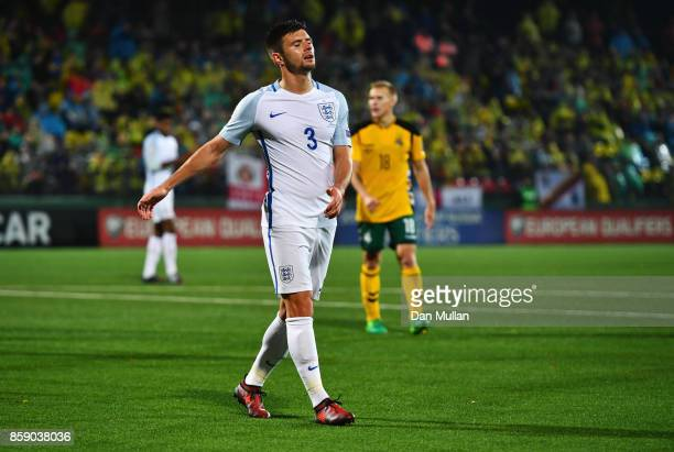 Aaron Cresswell of England reacts during the FIFA 2018 World Cup Group F Qualifier between Lithuania and England at LFF Stadium on October 8 2017 in...