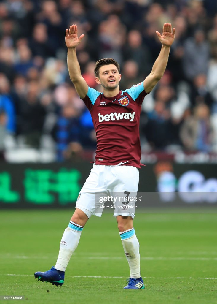 Aaron Cresswell of West Ham celebrates scoring his goal during the Premier League match between West Ham United and Manchester City at London Stadium on April 29, 2018 in London, England.